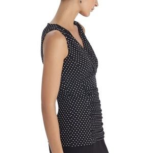 WHBM Black & White Sleeveless Polka Dot Top Size S